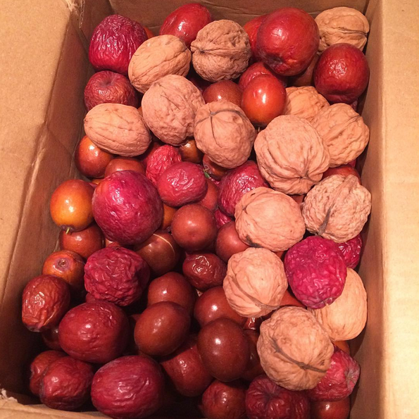 Beautiful jujubes and English walnuts sent to me from the good folks at Be Love Farm in California.